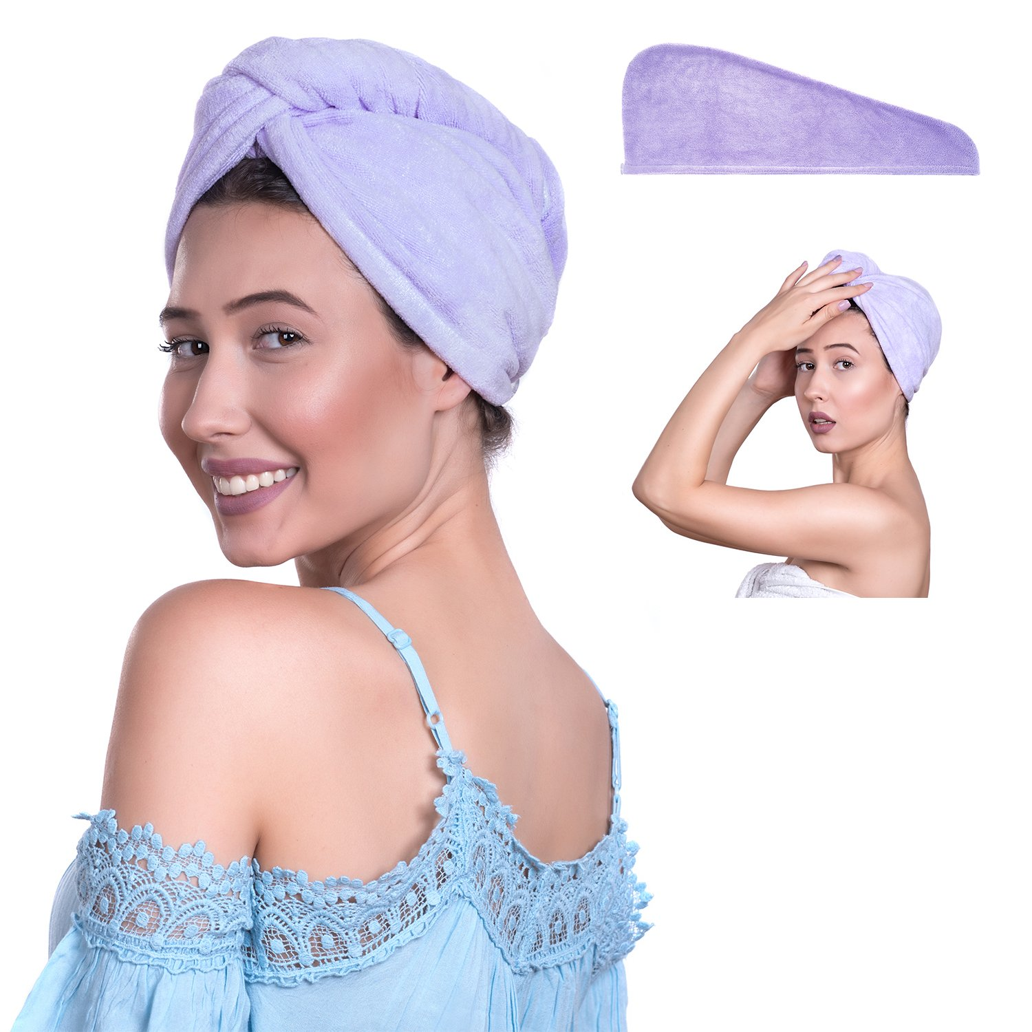 Oxytopia Microfiber Hair Towel for Women (65 X 25 Light Purple)