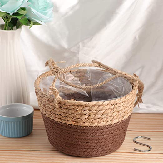20cm Light Brown BESPORTBLE Seagrass Hanging Planter Straw Woven Fleshy Flower Basket Storage Pot Succulent Potted Holder For Indoor Outdoor Decor