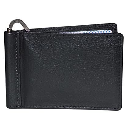 bdf861018a6 Style98 Black Genuine Leather Money Clip Wallet Cum Credit Card holder For  Men and Boys  Amazon.in  Bags