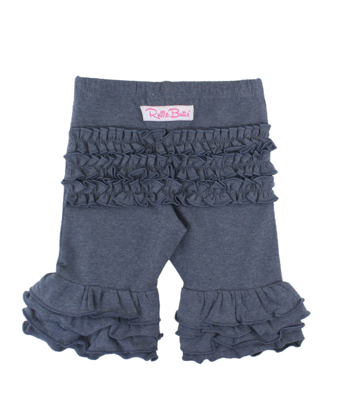 RuffleButts Girls Ruffled Bermuda Shorts - Blue - 7