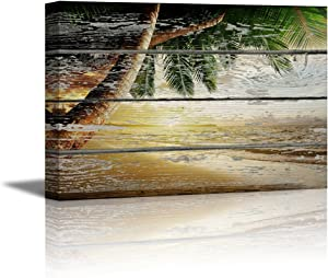 """wall26 - Canvas Prints Wall Art - Tropical Beach with Palm Tree on Vintage Wood Background - 24"""" x 36"""""""