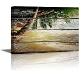 "Wall26 - Canvas Prints Wall Art - Tropical Beach with Palm Tree on Vintage Wood Background - 24"" x 36"""