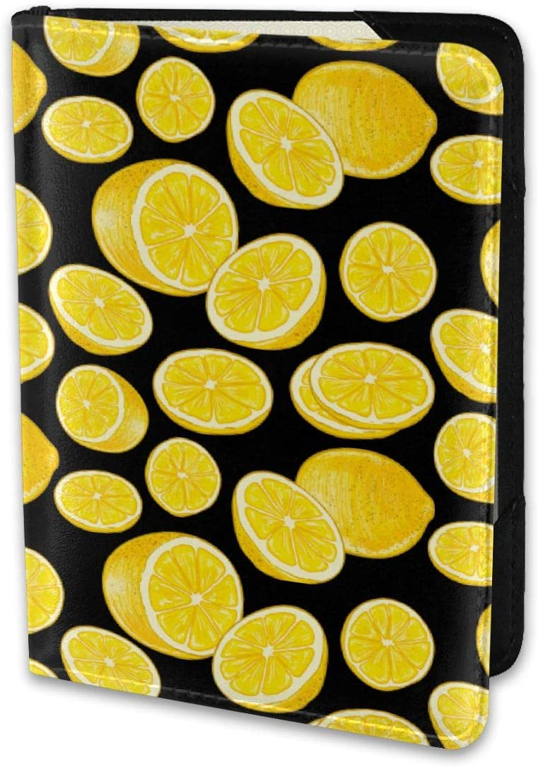 Biahos Leather Passport Cover Seductive Yellow Lemon Slices Wallet For Passport Case