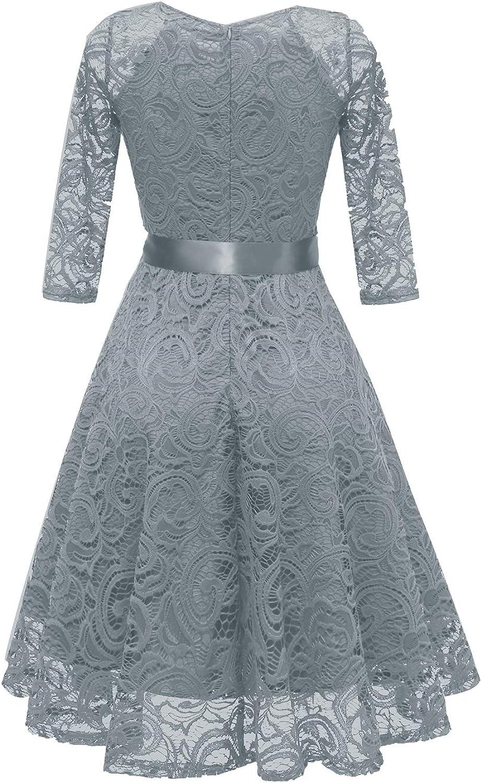 Viloree Femme 3//4 de Manche Plissee Vintage Decontracte Robe Lace Retro Robe de Soiree