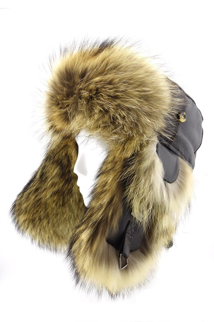 FUR WINTER Lamb Leather Raccoon Fur Aviator Bomber Trapper Hat BRN M