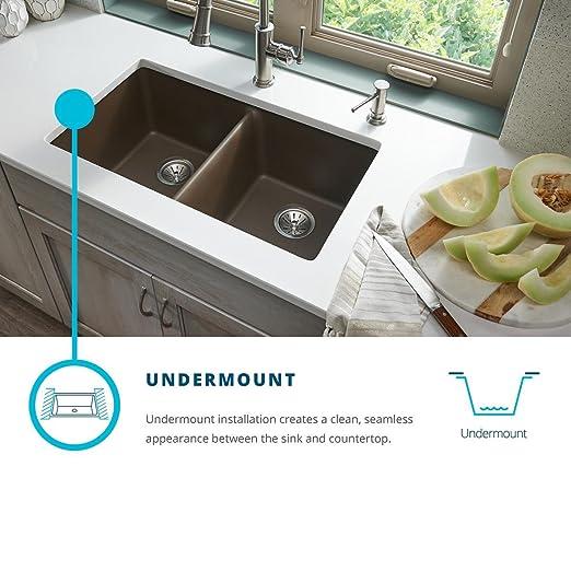 Exceptionnel Elkay Quartz Classic ELGDULB3322PT0 Putty Equal Double Bowl Undermount Sink      Amazon.com