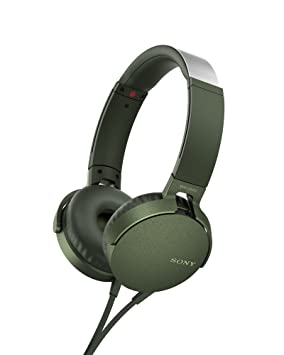 Sony MDR-XB550APG - Auriculares de Diadema Extra Bass (micrófono Integrado Compatible con Smartphones, Diadema metálica Adaptable) Color Verde: Amazon.es: ...