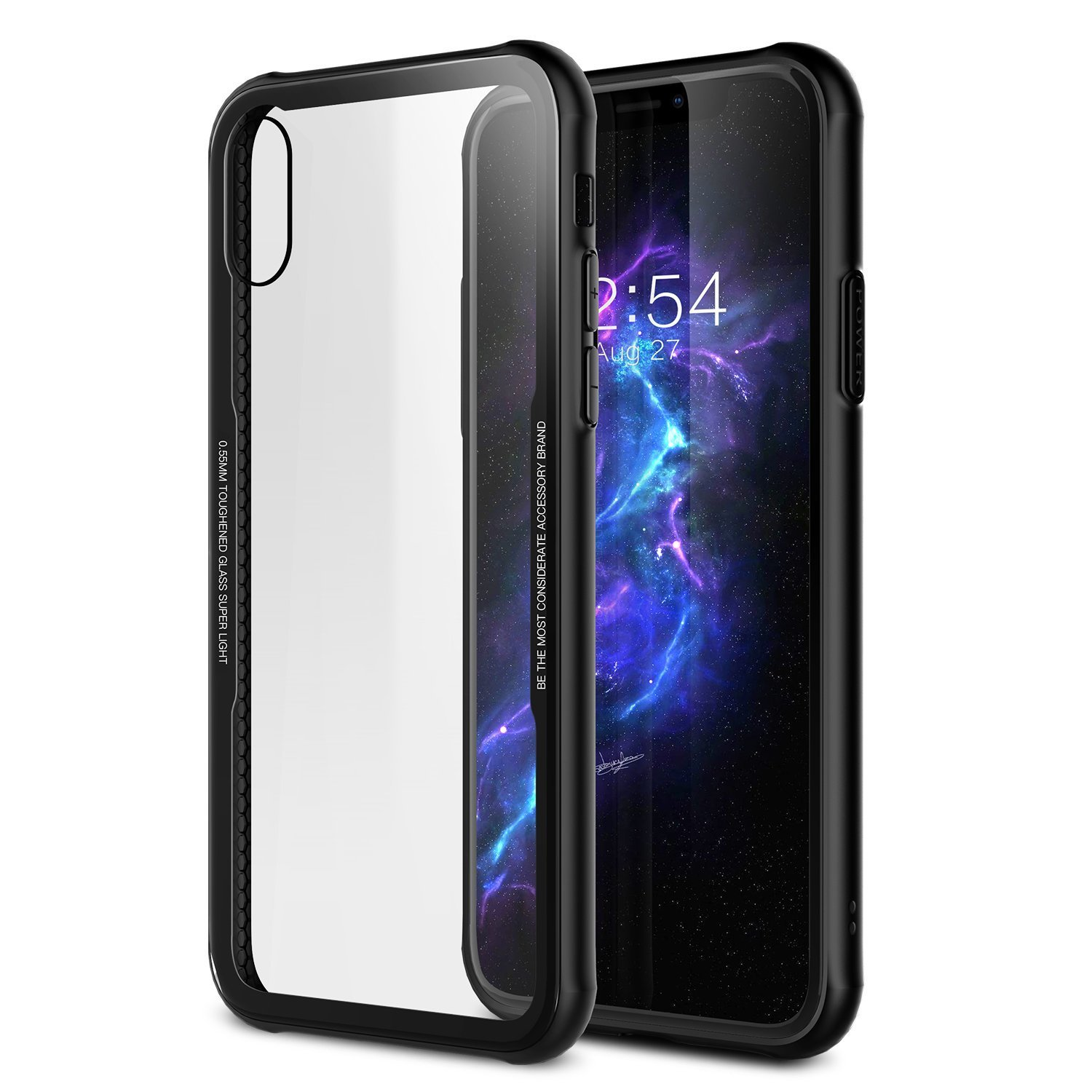 iPhone X Tempered Glass Case,Soft Grip Matte Finish TPU +0.55mm Tempered Glass Hard Back Panel Hybrid Ultra-Thin [ Slim Fit ] Protect Cover Shock Absorption Back-Transparent Bumper for iPhone 10 / X