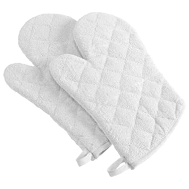 DII 100% Cotton, Machine Washable, Everyday Kitchen Basic Terry Ovenmitt Set of 2, White