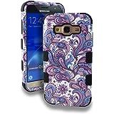 Kaleidio Case For Samsung Galaxy Sky S320VL / Galaxy J3 J320 (2016) / J3 Nova [TUFF] Impact Resistant Heavy Duty Dual Layer Hybrid Armor Cover w/ Overbrawn Prying Tool [Blue Purple Paisley]