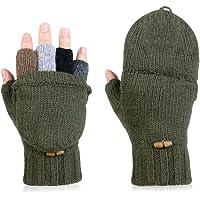 Vbiger Winter Handschuhe Fingerlose Fäustlinge Damen Fingerhandschuhe Fingerlos Halb Handschuhe Strick Handschuhe mit Flip Top