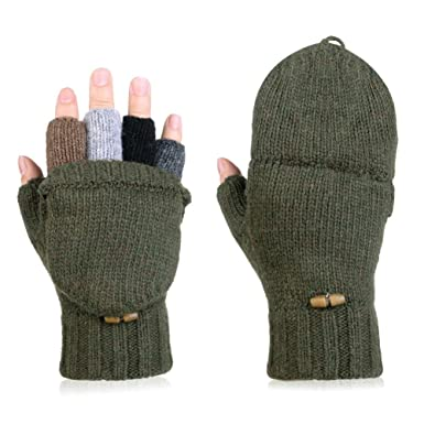 7847bad7d06f91 Vbiger Winter Handschuhe Fingerlose Fäustlinge Damen Fingerhandschuhe  Fingerlos Halb Handschuhe Strick Handschuhe mit Flip Top,