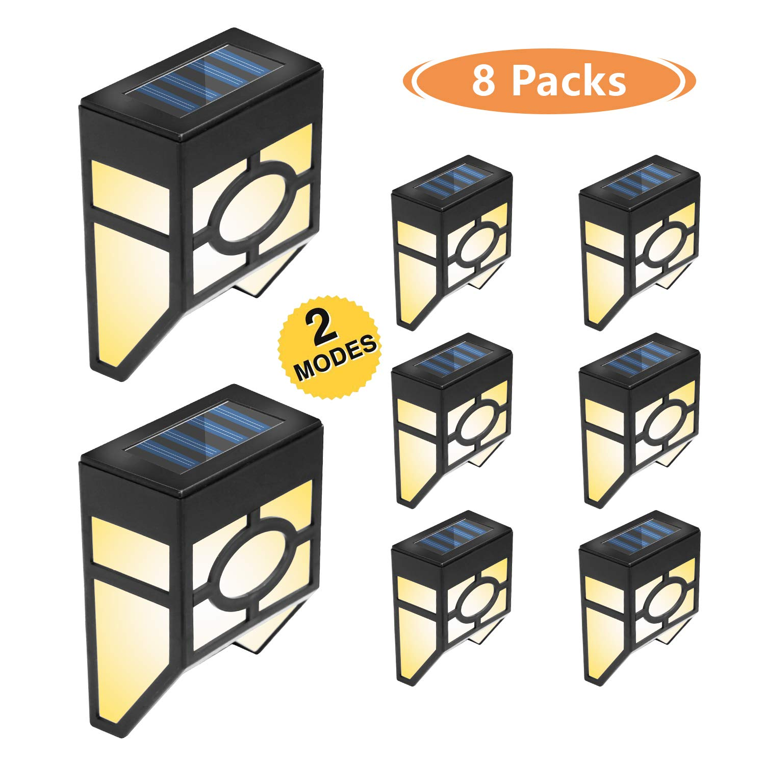 Otdair Solar Deck Lights, 2 Modes Night Lights Wall Mount Fence Post Lights LED Wall Light for Garden, Landscape, Decoration, Pathway, Patio, Fence, Deck, Yard, White/Color Changing, 8 Pack