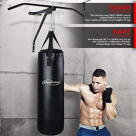 Physionics Saco de Boxeo con Barra de Tracción - Saco: (ØxH) 28x83cm / 19kg de Peso, Barra: de Acero / 83 cm de Ancho - Pull Up Bar, Barra de ...