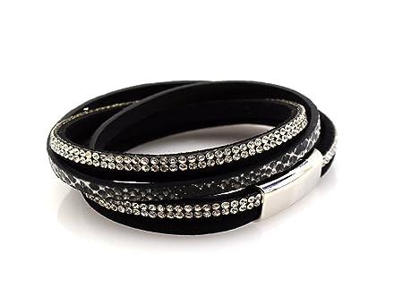 2 Wrap 3 Strand Leather Bracelet Snake Print Magnetic Clasp 7' Wrist - Grey 2CXSV0