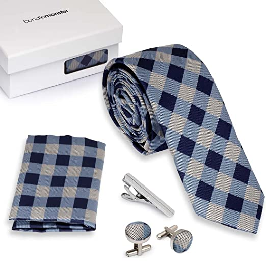 bc779ca70c9a Bundle Monster 4pc Matching Design Pattern Mens Suit Fashion Accessories Set  - Checkered Blue: Amazon.co.uk: Clothing
