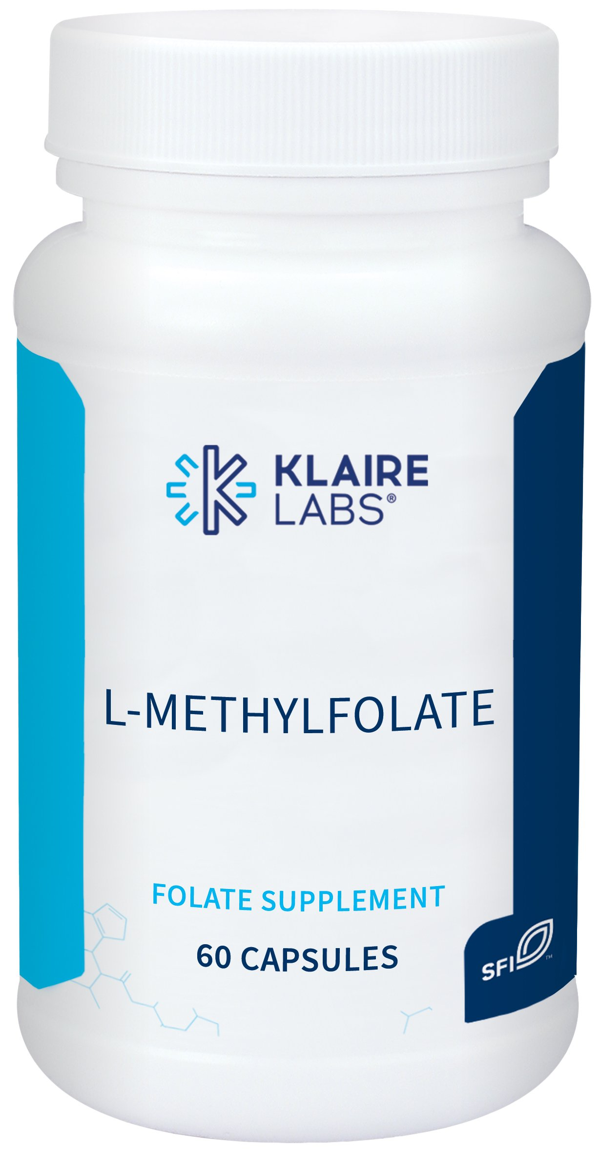 Klaire Labs L-Methylfolate - Highly Bioavailable, Non-GMO & Hypoallergenic 1000mcg (1 mg) Metafolin L-5-MTHF (60 Capsules)