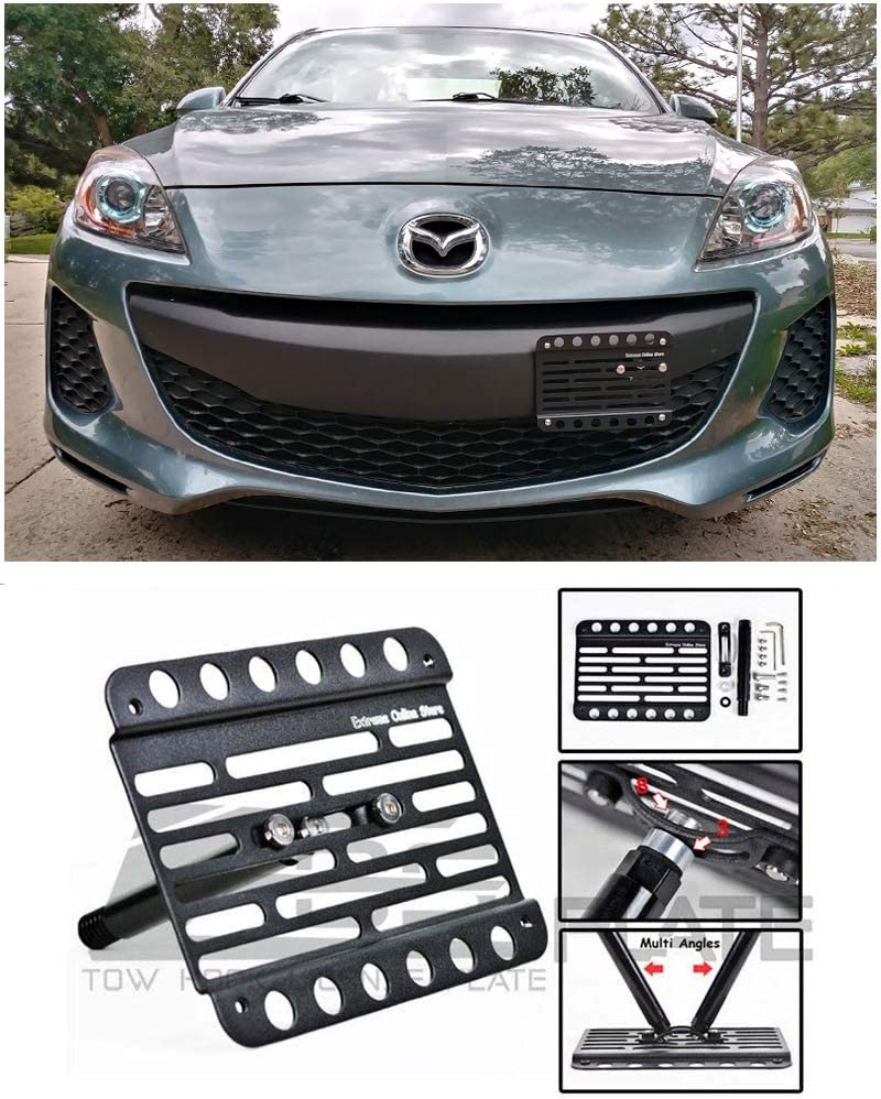 EOS Version 2 Full Sized Front Bumper Tow Hook License Plate Relocator Mount Bracket for 10-13 Mazda 3 2010 2011 2012 2013 10 11 12 13 Mazda3