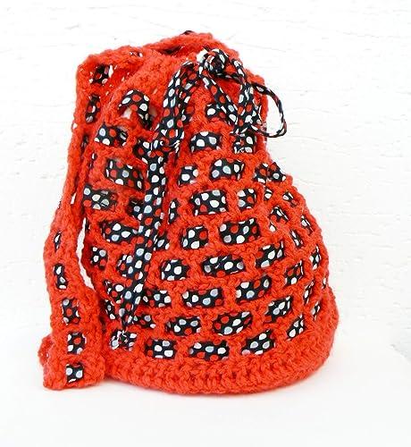 Bolsa Roja Ganchillo Original bolso mensajero Morral tira larga Bandolera tejida