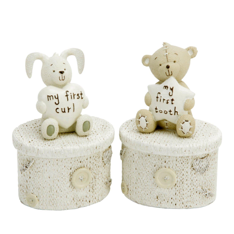 """Button Corner - Set coniglietto """"Il mio primo ricciolo"""" e orsacchiotto """"Il mio primo dentino"""", idea regalo per il battesimo [lingua inglese] Widdop & Bingham CG752"""