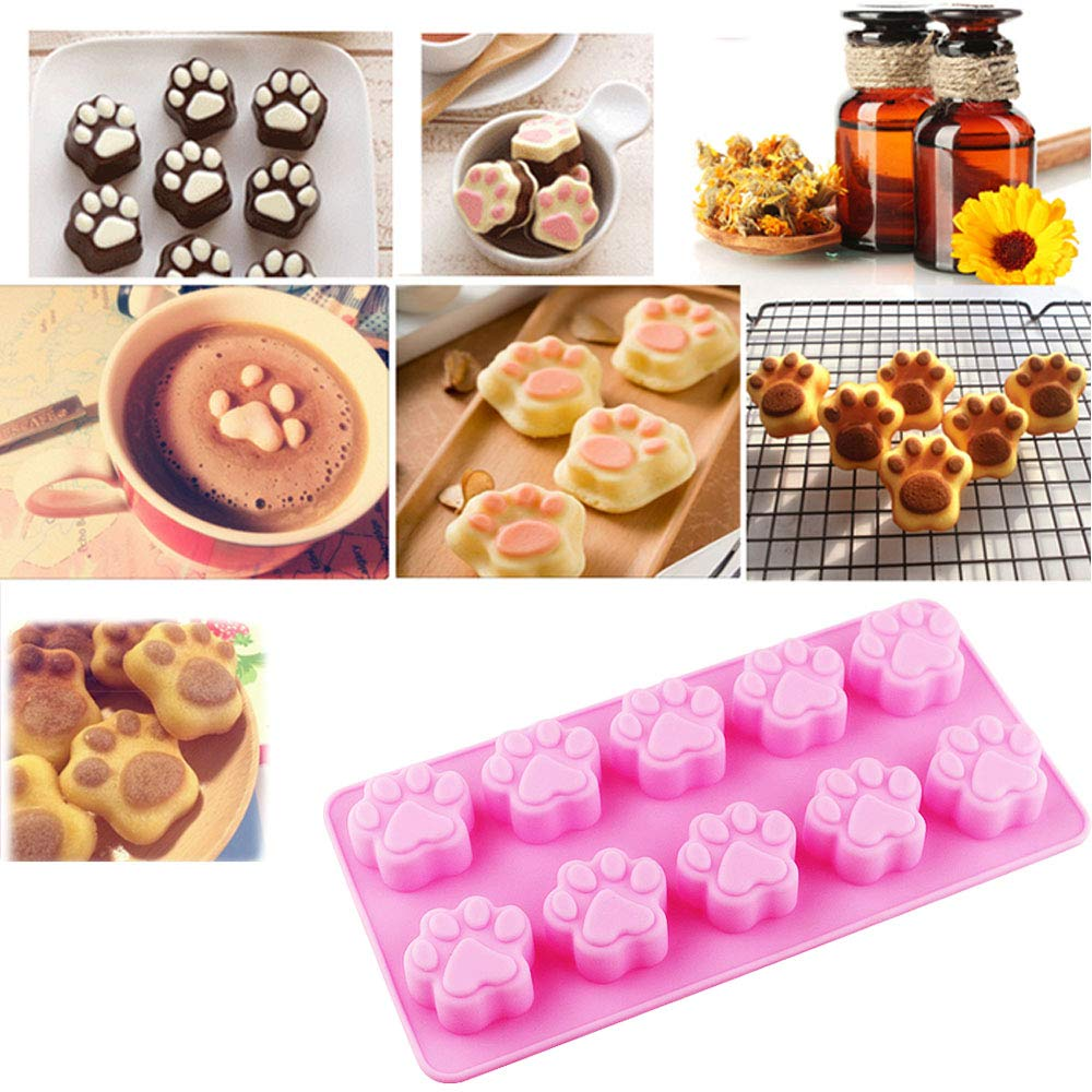 7 Pack Dog Treat Molds, Puppy Dog Paw and Bone Molds, Non-stick Dog Ice Molds Trays, Reusable Baking Molds for Chocolate, Candy, Cupcake, Biscuits- perfect Dog Cookie Molds for Puppy lovers by Ausplua (Image #3)