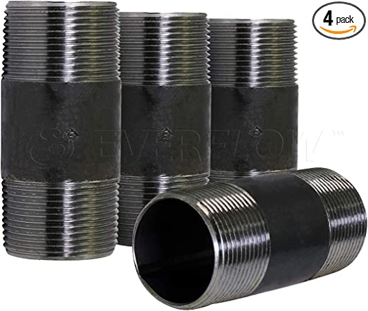 """10PCS 1//2/"""" x 4-1//2/"""" BLACK MALLEABLE NIPPLE PIPE THREADED GAS PIPE CONNECTOR"""