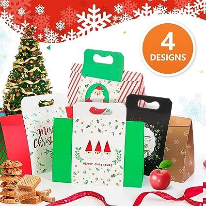 Navidad Bolsas de regalo – diseños de la Navidad bolsas pack de 4 de copo de nieve Papá Noel ciervo 29 x 31,8 x 11,2 cm: Amazon.es: Hogar
