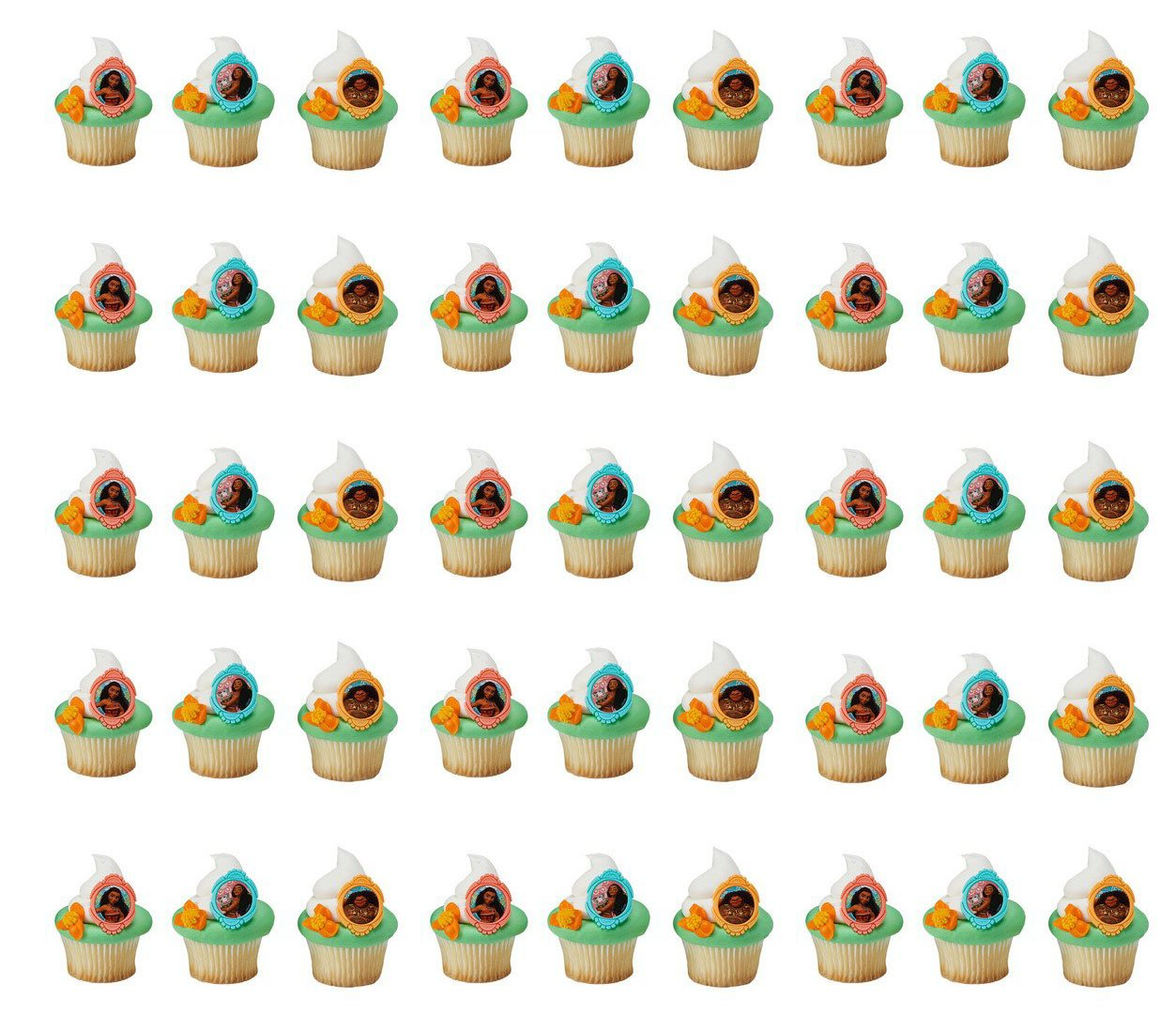 Moana Voyagers Cupcake Rings 2 Bakery Supplies 48 pc