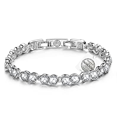 PAULINE & MORGEN Snow Queen White Gold Plated Copper/925 Sterling Silver Crystal Women Bracelet mwf1p1vqp