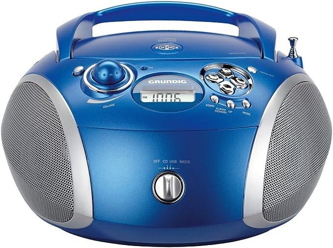 Grundig RCD 1445 RCD 1445 USB - Radiocassette (Puerto USB, con Reproductor de CD y MP3), Azul y Plateado