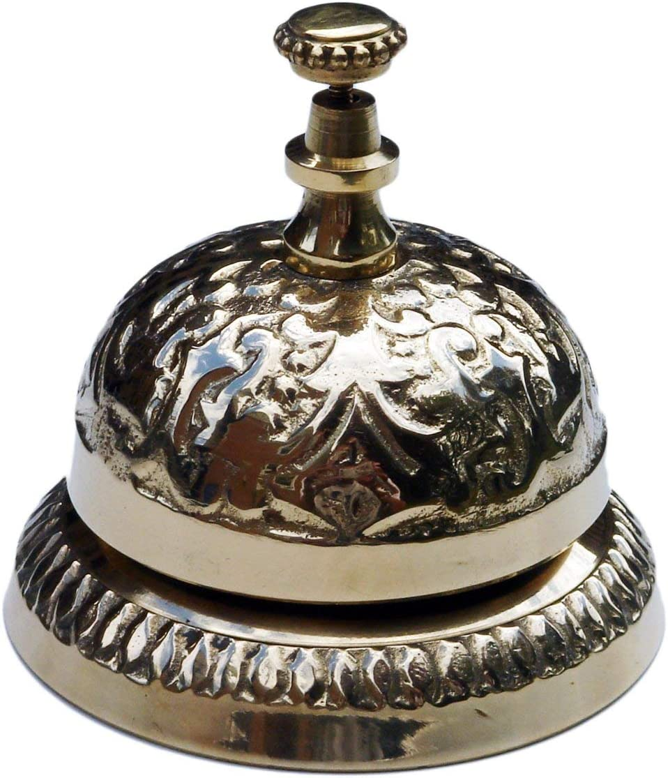 "UDL Solid Brass Victorian Style Desk Call Bell Desktop Ring Service Counter Bell Hotel Reception Bell 3 1/4""(D) 2 3/4""(H)"