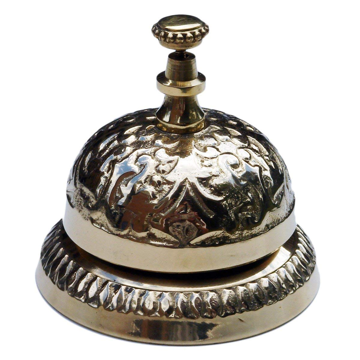 UDL Solid Brass Victorian Style Desk Call Bell Desktop Ring Service Counter Bell Hotel Reception Bell 3 1/4''(D) 2 3/4''(H) by UDL
