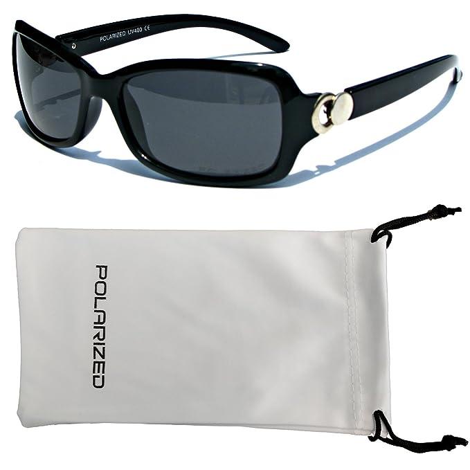 VOX mujeres polarizado gafas de sol de diseñador clásico Chic moda gafas - Marco negro - lente humo: Amazon.es: Ropa y accesorios