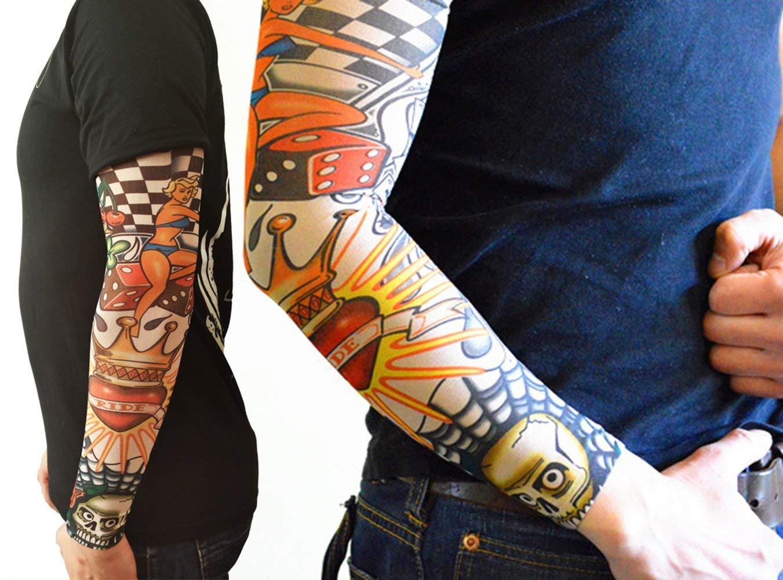 Mangas tatuadas(6 piezas) - Mangas temporales falso tatuaje de nylon - Cuerpo Protector Solar de Arte Medias Accesorios,Tribal,Dragón,Calavera,amigos, ...