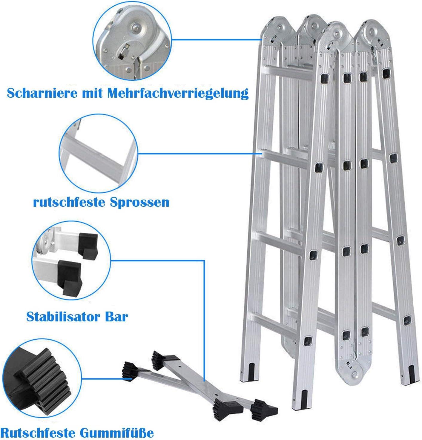 150 kg//330 Pfund Belastbarkeit Haushaltsleiter 5m Teleskopleiter 2.5m+2.5m Ausziehleiter Klappleiter Rutschfester Stehleiter Mehrzweckleiter aus hochwertiges Aluminium