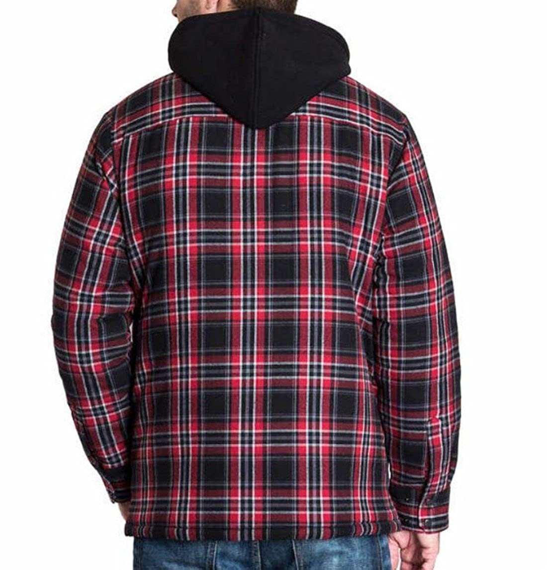 BC Clothing Mens Plaid Hooded Shirt Jacket with Quilted Lining