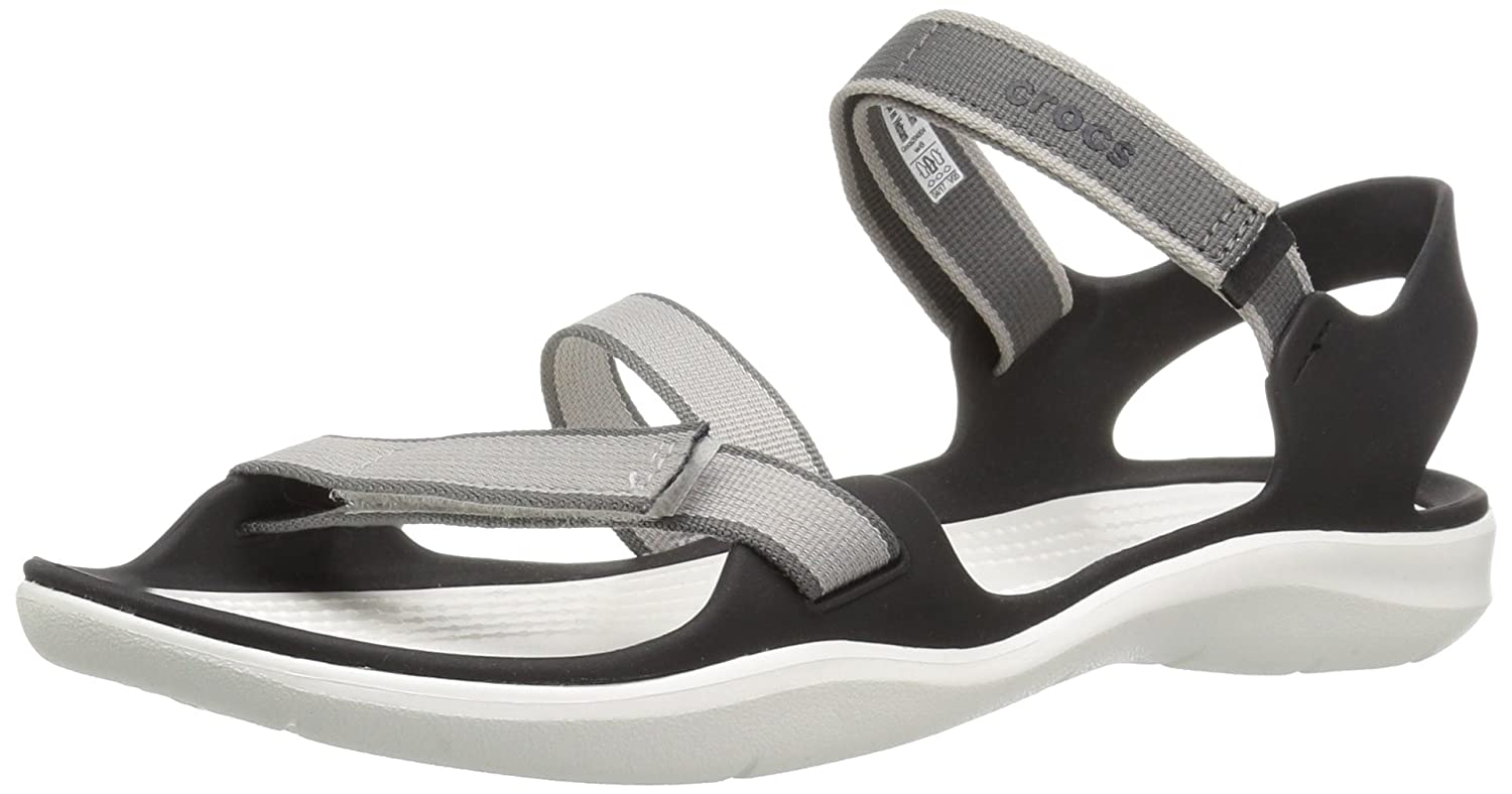 Crocs Women's Swiftwater Webbing Sandal B06Y527X7T 4 B(M) US|Pearl White