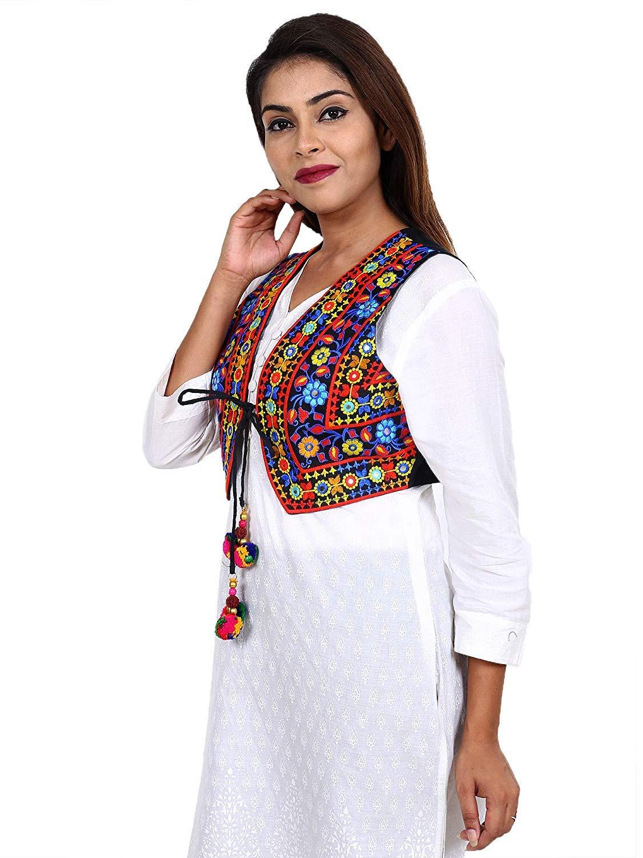 Womens Cotton Handmade Traditional Embroiderd Short Kutchi Jacket