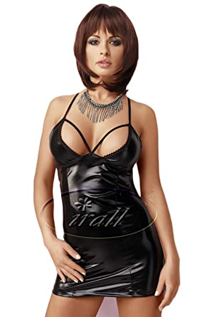 0854adbc7c6 Sexy Black Wet Look Mini Dress Club Wear Half Open Bust Cross Over Halter  Neck Straps
