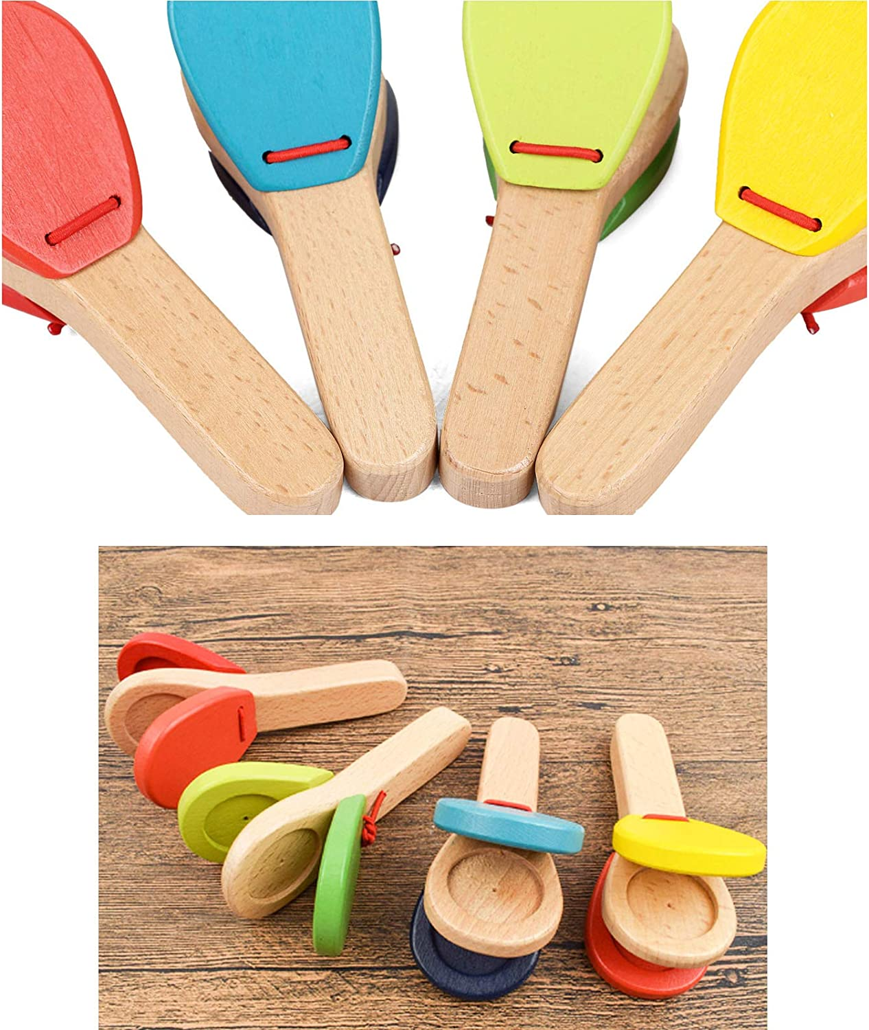 Hand-cranked pat Wooden Gift LiLiy 2 Pcs,Innovative Color Wooden Percussion Toy