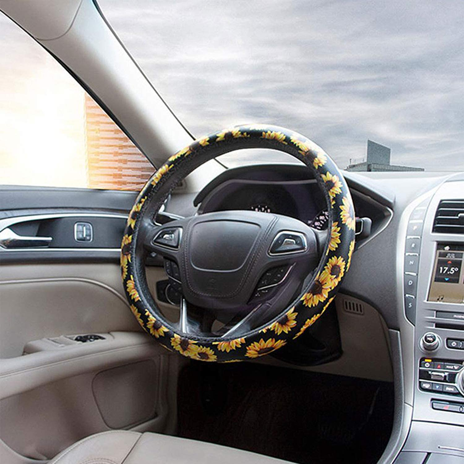 3PCS Sunflower Accessories for Car Wheel Cover,2PCS Car Cup Holder Coaster