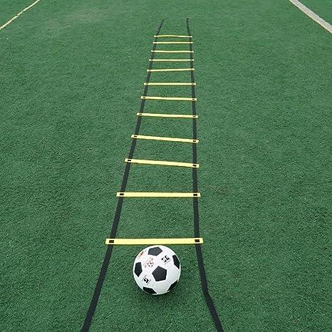Xin Speed Agility Ladder 5M 10 Escalera de Entrenamiento de peldaños para fútbol Speed Basketball Fútbol Fitness Pies Entrenamiento con Bolsa de Transporte (Color : B): Amazon.es: Deportes y aire libre