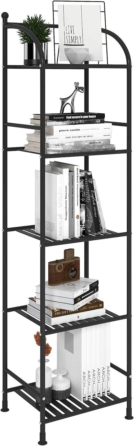 Amazon Com Fkuo 5 Tier Bathroom Storage Open Shelf Unit Free Standing Metal Corner Rack Shelving For Kitchen Living Room Hallway Black 5 Tier Kitchen Dining