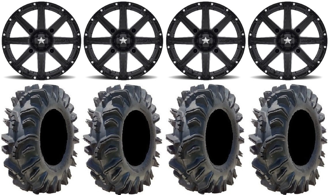 Bundle - 9 Items: MSA Black Clutch 14'' ATV Wheels 28'' Terminator Tires [4x137 Bolt Pattern 10mmx1.25 Lug Kit]