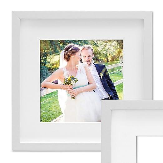 PHOTOLINI 3D Bilderrahmen Objektrahmen 30x30 cm 3D-Rahmen Weiss Modern Tief MDF-Rahmen mit Passepartout u. Glasscheibe/Fotora