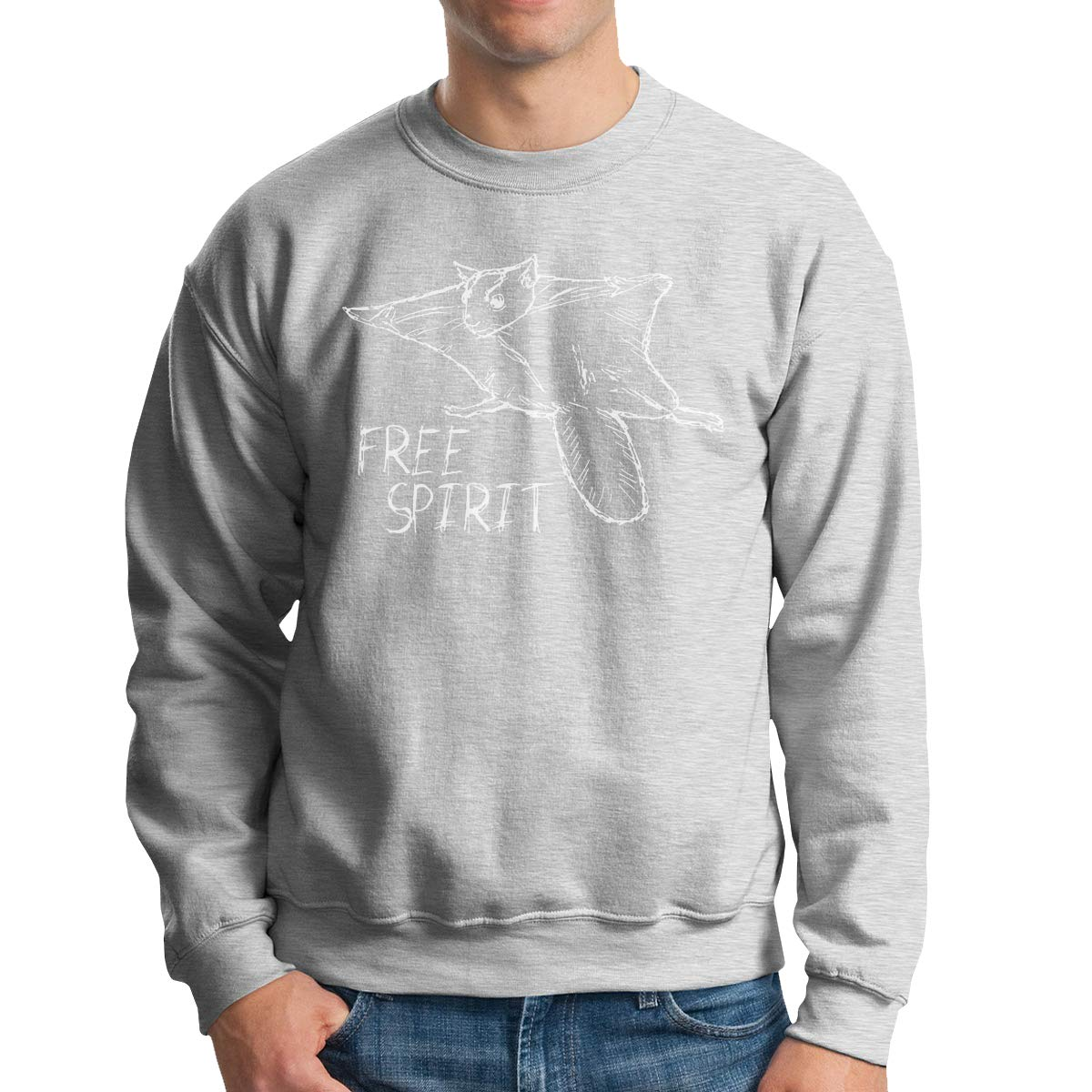 Donald Marjory Flying Squirrel Print Mens Big /& Tall Mens Crewneck Pullover French Terry Crewneck Sweatshirt