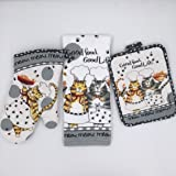 Siun Home Kitchen Use Heat Resistant Microwave Oven Gloves Insulated Mat and Towel ,Set of 3, Mittens Oven Mitts and Pot Holders ,Towel(cat Plaid Theme)