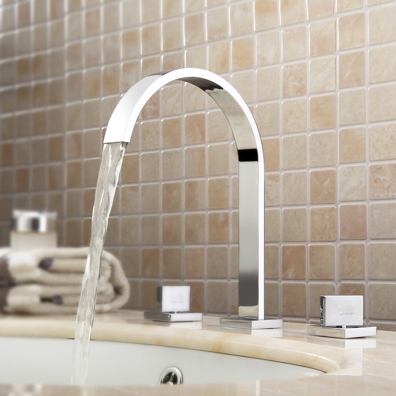 Contemporary Bathroom Widespread Vanity Sink Faucet Chrome