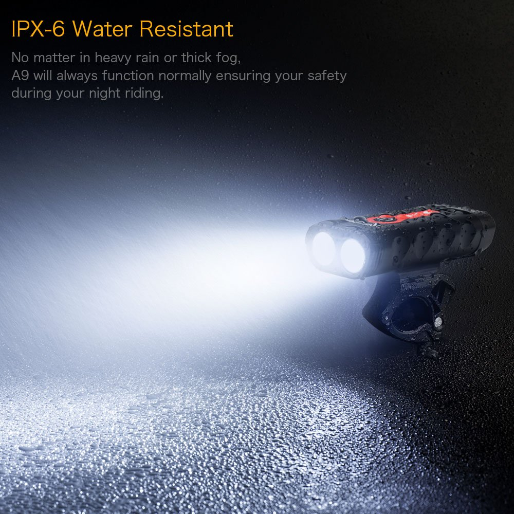 TANSOEN USB Rechargeable Bicycle Light Front and COB TAIL LIGHT Set, 1800 Lumens LED Lamp Bike Headlight -【Upgrade Front Bike Light Base】Bicycle Light Waterproof 5 Light Modes for Road Cycling Safety by TANSOREN (Image #6)