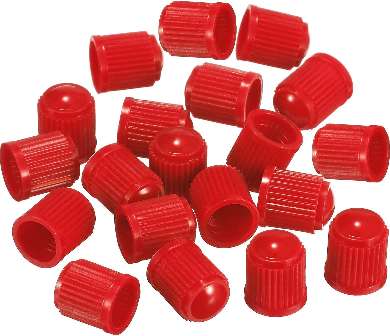 Outus 20 Pack Tyre Valve Dust Caps for Car, Motorbike, Trucks, Bike, Bicycle (Red)